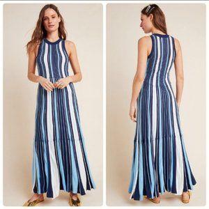 Maeve Lisanne Sweater Maxi Dress Blue Stripe XL